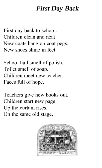 Poems First day back
